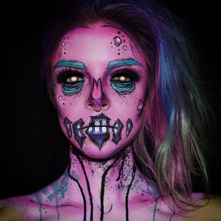 "⠀⠀KIMBERLEYWEBERMAKEUPARTIST on Instagram: ""October 6th: Messy little pop art zombie. ✖️ #Mehron paradise paints, #MUFE flash palette, #Sugarpill shadows. #Halloween #Makeup"""
