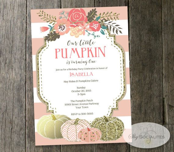 Blush Pink & Gold Pumpkin Invitation  Baby Shower by ShySocialites