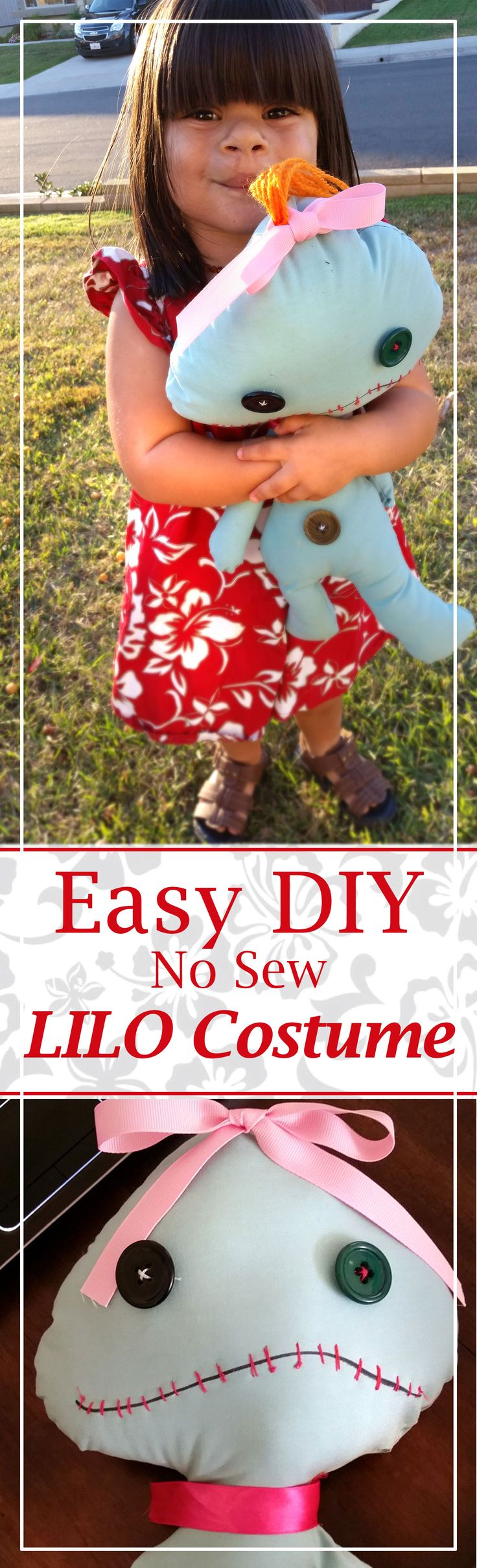 DIY Lilo Costume. Fun for any Lilo and Stitch fan - great for Mickey's Halloween Party, dress up, trick or treat, costume parties, and more! This is NO SEW and can be worn as regular clothing later!