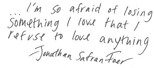 """... I'm so afraid of losing something I love that I refuse to love anything."" - JSF"