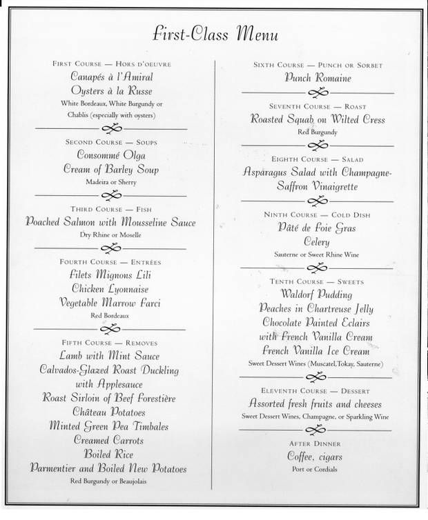 A 1st Class menu from RMS Titanic. Sumptuous and refined.