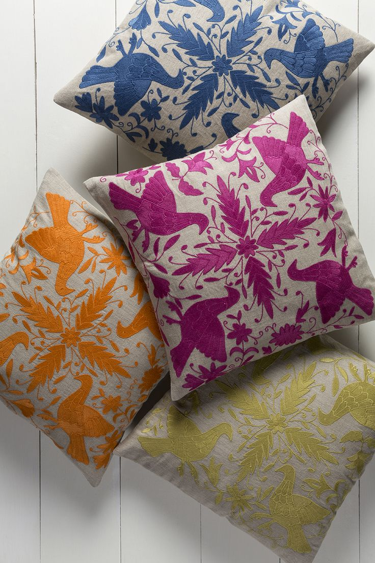 Globally-inspired Otomi pillow collection by designer @lacefielddesign for Surya!