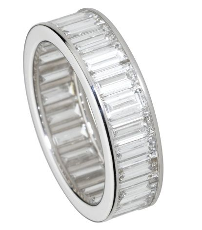 Cartier platinum, paved, baguette-cut diamond ring