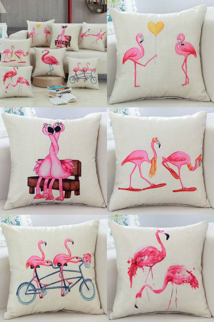 [Visit to Buy] 45*45cm Bedding Outlet Cotton Linen Cushion Cover Flamingo Design Pillow Case Sofa Bed Car Decor For Lover Best Gifts   #Advertisement