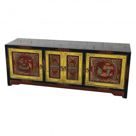 """Meuble TV tibétain """"Derge"""" avec 4 portes. Origine : TIBET. Frais ecotax inclus. Commande sur mesure, merci de nous contacter. Rêve d'Asie. Suisse."""