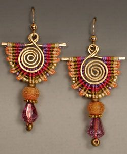 Anarca Earrings by Joan Babcock from the book Wired Micro-Macramé Jewelry