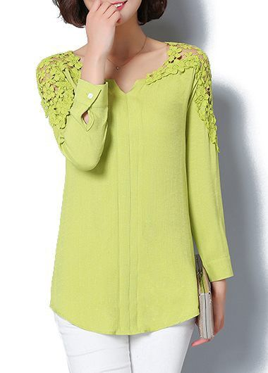 Lace Panel Long Sleeve Split Neck Curved Blouse on sale only US$26.37 now, buy cheap Lace Panel Long Sleeve Split Neck Curved Blouse at liligal.com