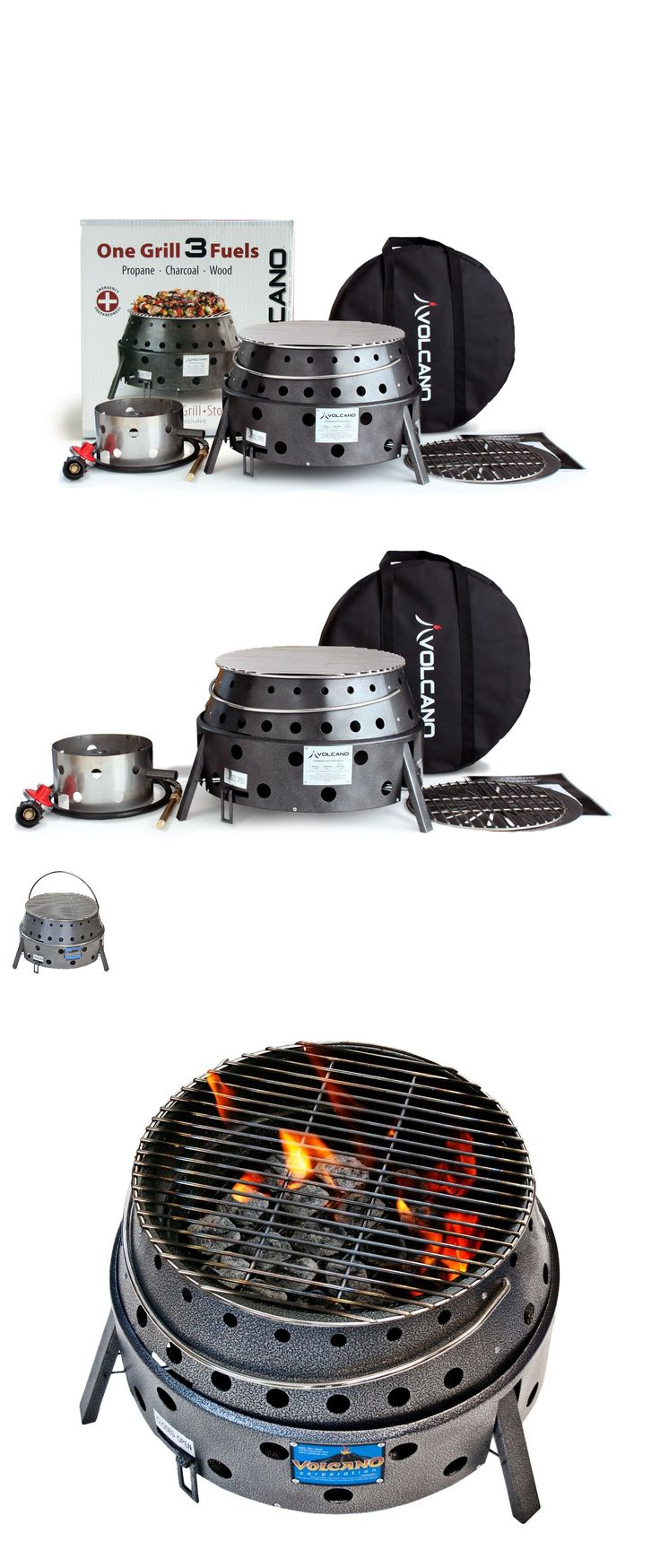Camping BBQs and Grills 181388: Volcano Grills 3 Fuel Portable Tailgate Propane Charcoal Camp Stove Tabletop -> BUY IT NOW ONLY: $149.99 on eBay!