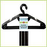 100 Kleiderbügel aus Kunststoff, schwarz, mit Gürtel- und Krawattenhalter, Anti-Rutsch-Rillen