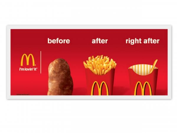 The Print Ad titled French Fries was done by Leo Burnett USA advertising agency for product: Mcdonald's French Fries (brand: McDonald's) . It was released in the Apr 2009.
