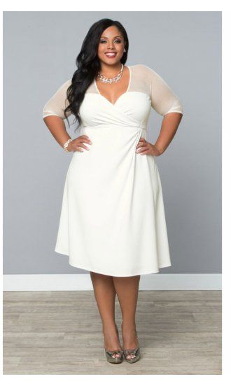 Sugar and Spice Plus Size Dress in White Truffle by Kiyonna
