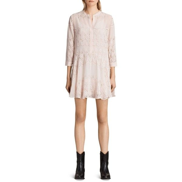 Allsaints Anais Dress (€185) ❤ liked on Polyvore featuring dresses, vintage pink, a line dress, allsaints dress, embroidered summer dress, embroidery dress and pink dress