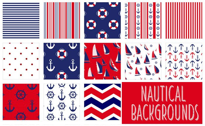 14 Free Nautical Backgrounds in Red, Blue, and White