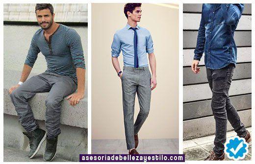 Como Combinar Un Pantalon Gris Con Camisa Celeste Azul Hombre Outfit Pantalon Gris Combinar Ropa De Hombre Pantalon Azul Hombre