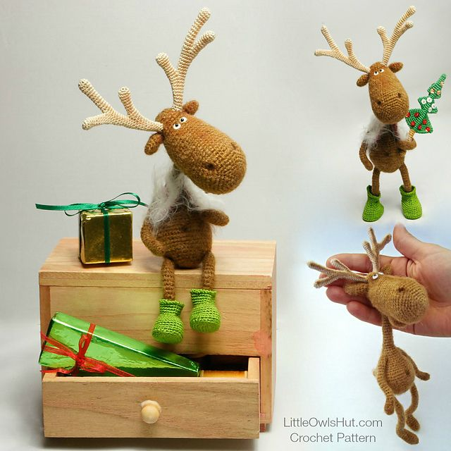 Dear Reindeer with boots and Christmas tree | amigurumi pattern by LittleOwlsHut