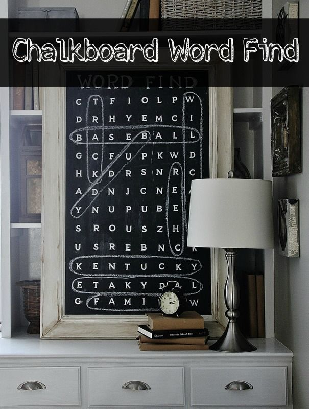 Chalkboard word find art Totally love this