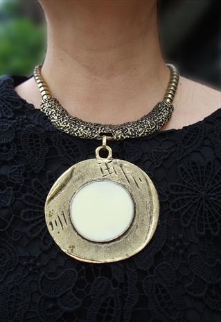 gold tone ethnic sun statement necklace