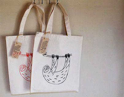 "Check out new work on my @Behance portfolio: ""Silkscreen Printing Sloth bags my…"