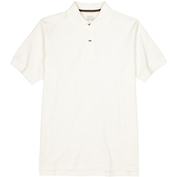 Paul Smith Off White Slim Piqué Cotton Polo Shirt - Size M (€175) ❤ liked on Polyvore featuring men's fashion, men's clothing, men's shirts, men's polos, mens pique polo shirts, mens cotton shirts, mens slim fit shirts, mens slim shirts and mens polo shirts