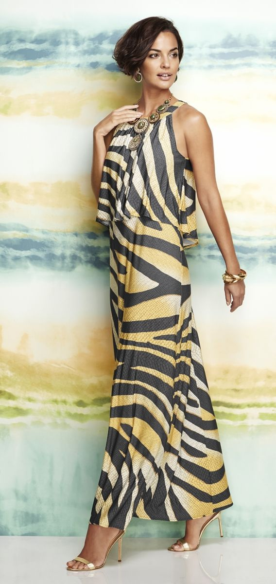 Golden Zebra-Print Maxi Dress. I don't usually like head-to-toe animal print, but this one grabbed me. So elegant!