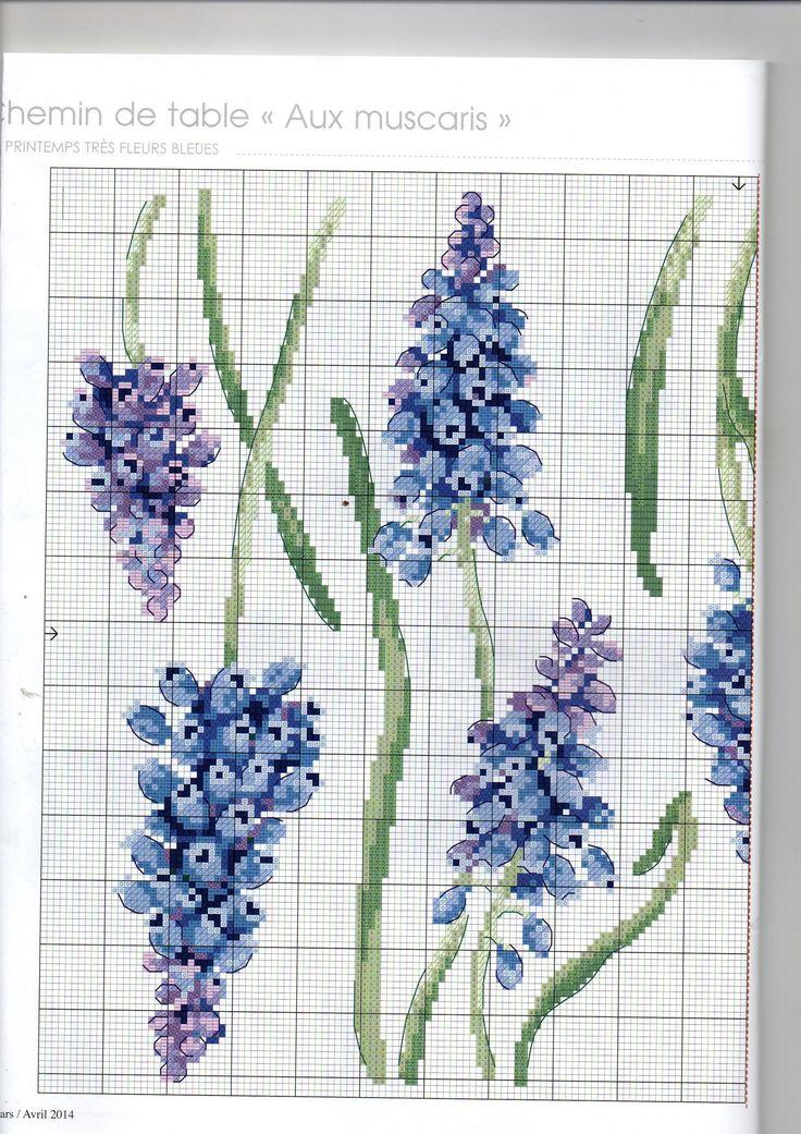 Декоративные цветы вышитые крестиком_схема