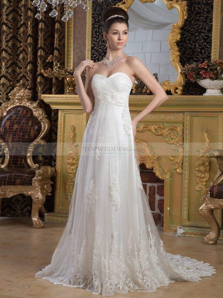 Empire Cut Tulle Wedding Dress with Beading Details and Lace Hem