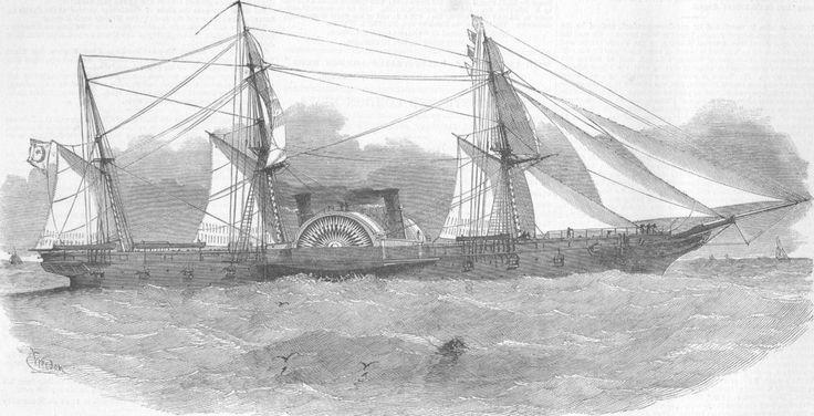 EGYPT. Ship Faid Gihaad, built for Pacha of  Egypt, antique print, 1852