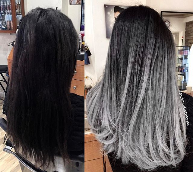 WEBSTA @ jackmartincolorist - Transformation Tuesday: Silver smoke balayage ombré style used the amazing new guy tang mydentity color line. Formulation: I pre lighten the hair with teasing balayage technique using big 9 cream lightner and 40 vol mixed with olaplex ( great lightner, powerful but very gentle on the hair ), for about 45 minutes to a very light blonde level 10. Wash with no yellow shampoo to tone down the yellow tone, dry and applied second formula, which is 1/2 dark shadow…