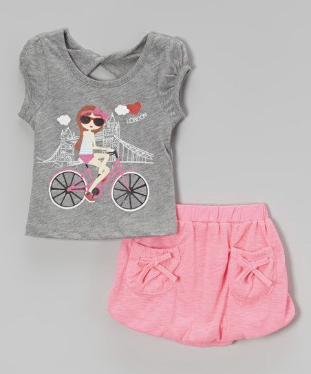 Gray 'London' Bike Top & Skirt - Toddler & Girls