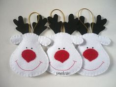 Rodolfo el reno de la nariz roja - Adornos de fieltro - Decoración de Navidad - Renos blancos