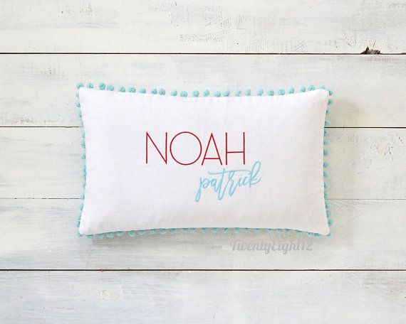 Monogrammed Pillow Cover Pom Pom Pillow Cover Decorative Etsy Embroidered Pillow Covers Monogram Pillows Embroidered Pillow