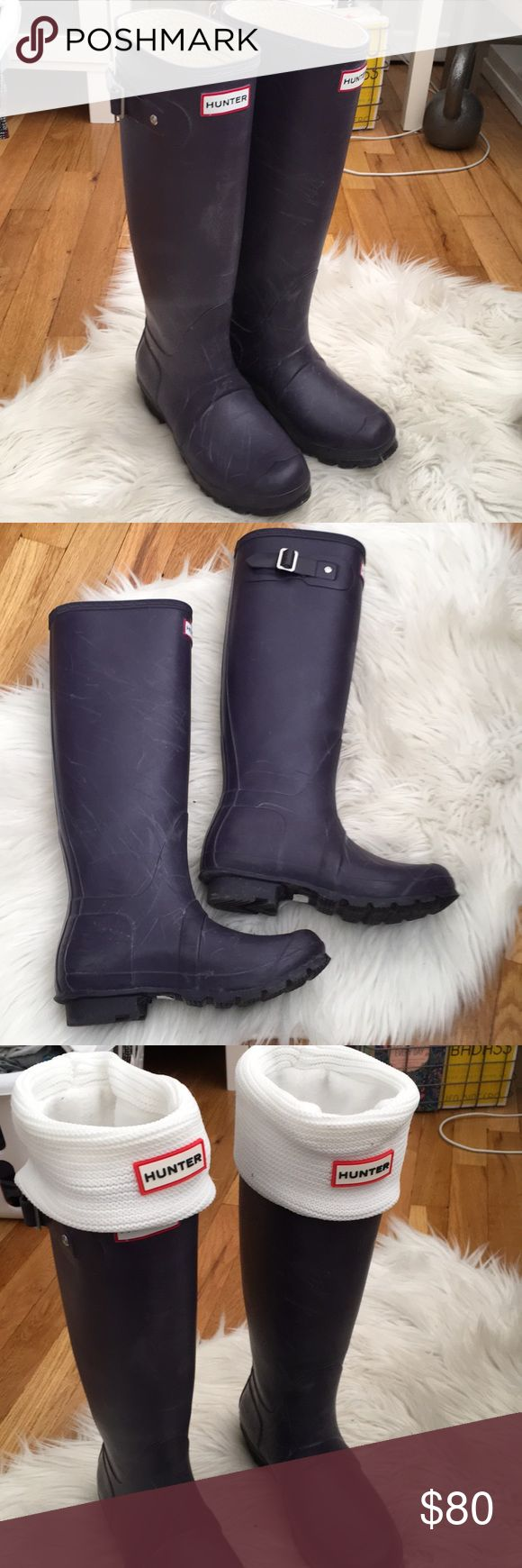 Purple Hunter Boots In great condition! Hardly worn. Still has great tread on the soles. Comes with fleece liners.  ‼️First photo is just for modeling purposes-not the actual item Hunter Boots Shoes Winter & Rain Boots