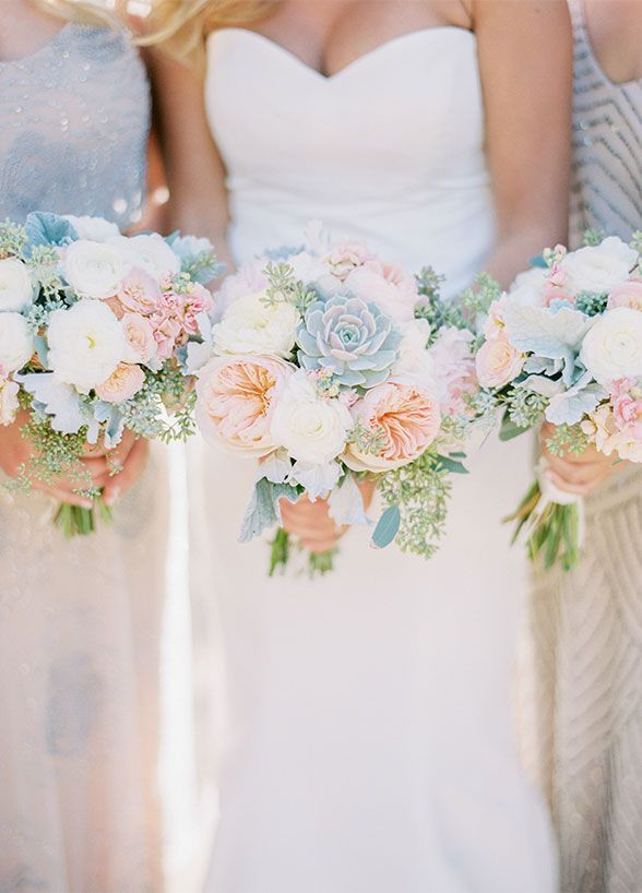 Spring wedding bouquets, bridesmaid bouquet inspiration. Rustic Cream & Blush Arizona Wedding