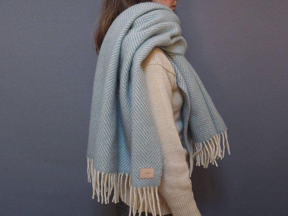 Duck egg blue herringbone personalised blanket scarf Womens