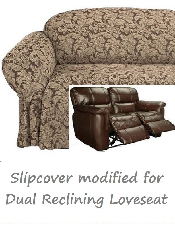 Dual Reclining Loveseat Slipcover Farmhouse Twill Taupe Sure Fit