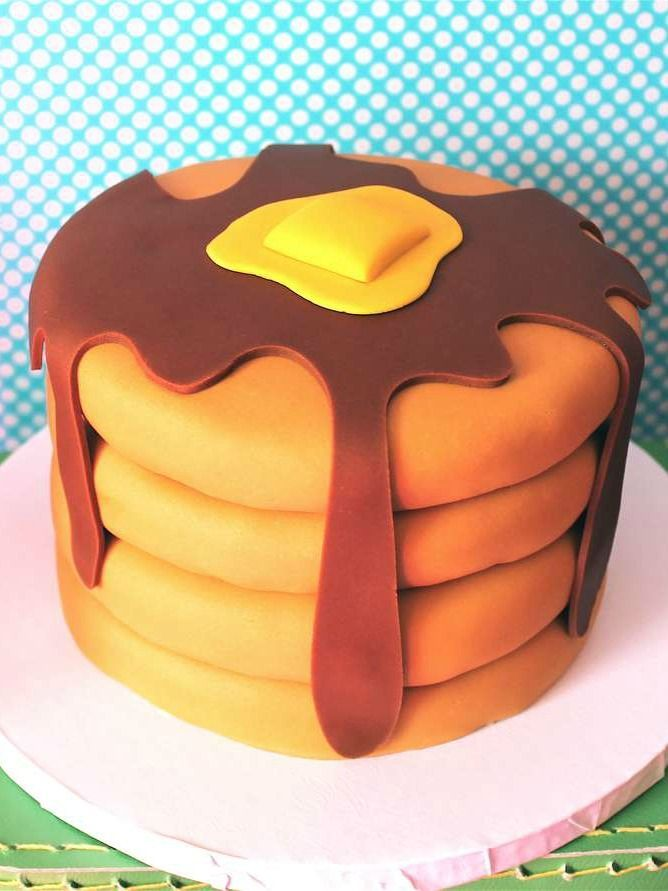 Fun Pancake Birthday Party Cake!  See more party planning ideas at CatchMyParty.com!