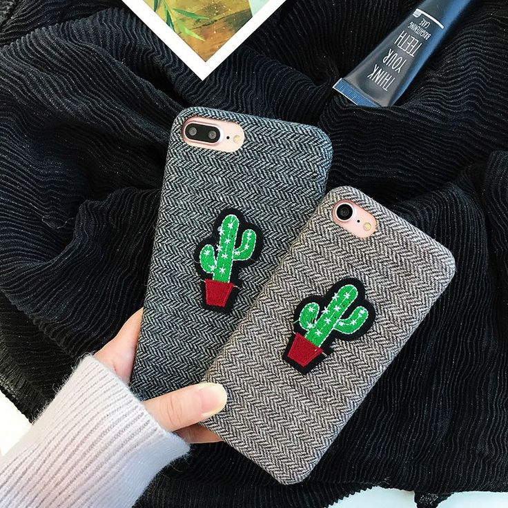 Cactus Case For iPhone 7 7plus Cute England Grid Case Fundas For iPhone 6 6S 6plus 6splus Cactus Soft Plush Back Cover #iphone6case,
