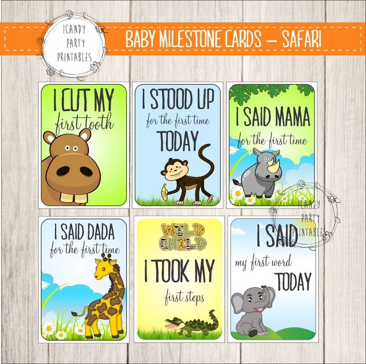 Baby Milestone Cards, Safari animals baby milestones cards, jungle animals, safari animal, colorful, DIY, instant download, babyshower gift by iCandyPartyPrintable on Etsy