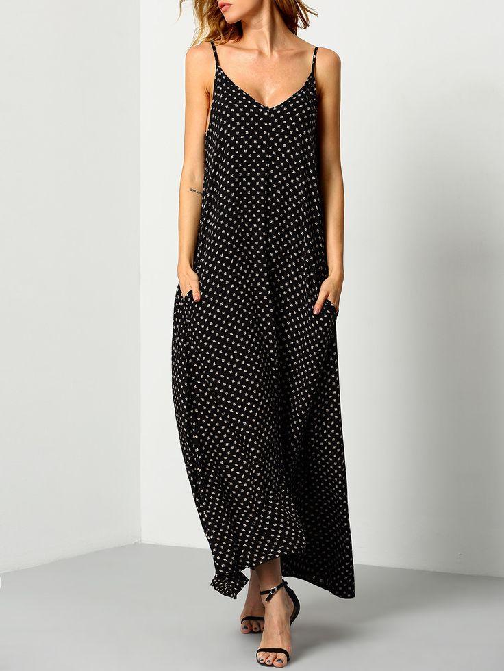 Black Braces Deep V Neck Floral Houndstooth Print Cami Slip Dress -SheIn(Sheinside)