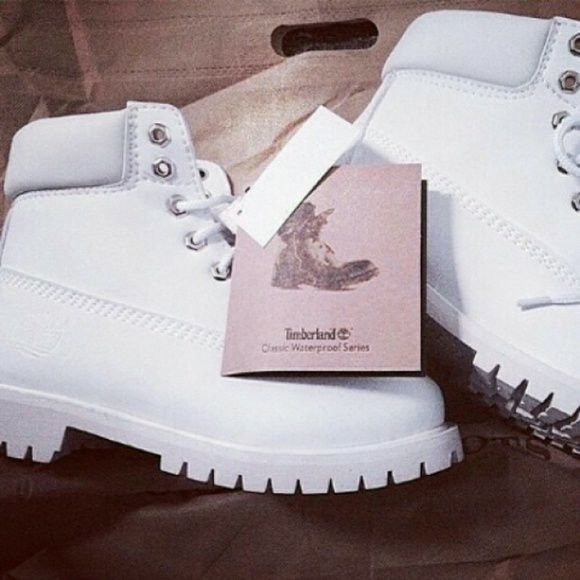 All white timeberlands *STILL FOR SALE!* All white Timberland Shoes