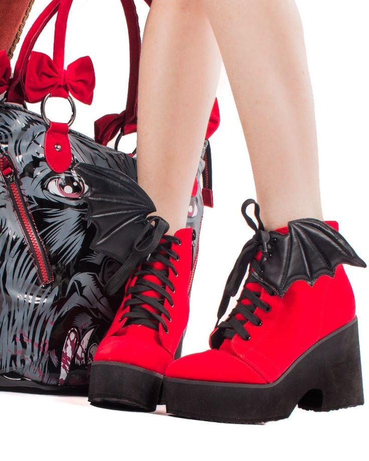 Iron Fist | Red Velvet Bat Wing Boots - Tragic Beautiful buy online from Australia