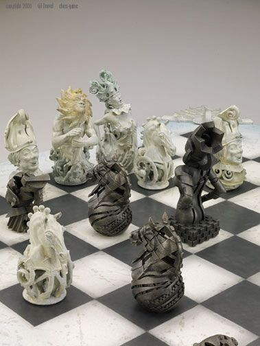 Chess Set - Theme: Mechanical World vs Natural World  by Gil Bruvel.