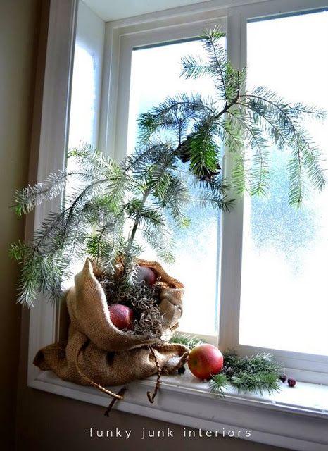 Make a burlap sacked Charlie Brown Christmas tree - http://FunkyJunkInteriors.net