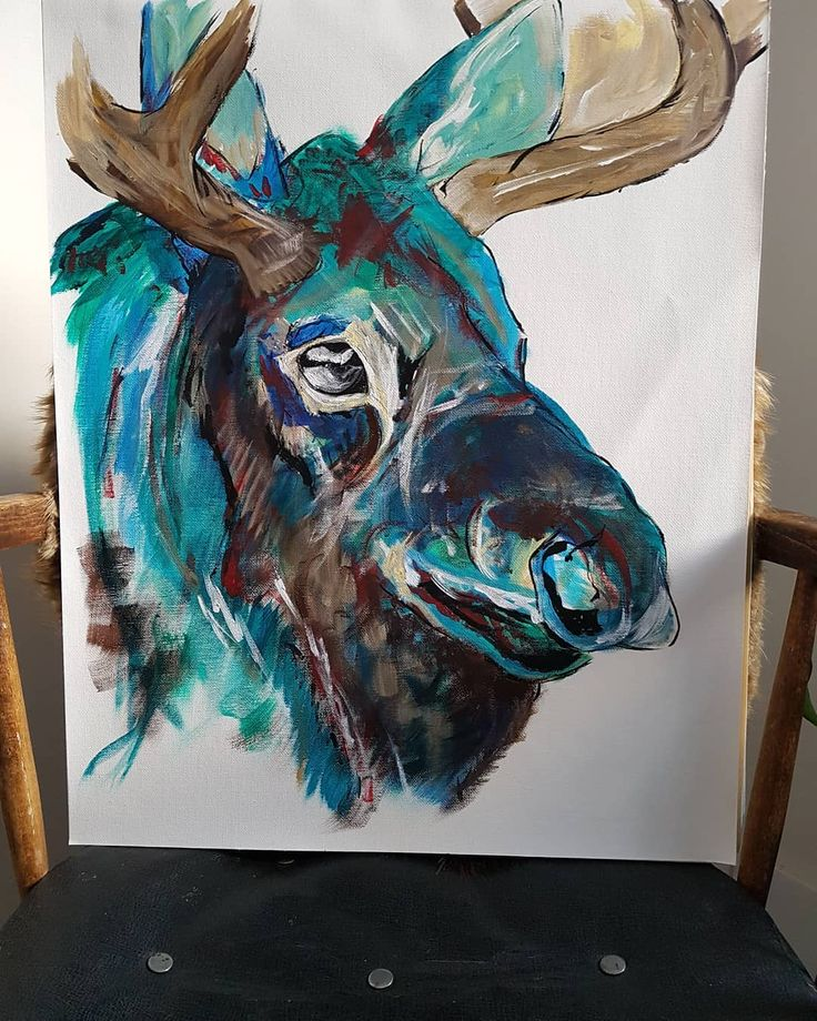 """27 Likes, 1 Comments - Emily Haggberg (@emilyhaggberg_art) on Instagram: """"16x20 moose on a canvas sheet Done with acrylics For sale #painting #acrylicpainting #progress…"""""""