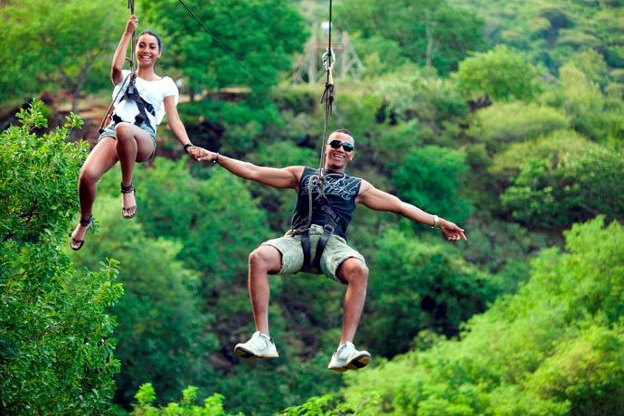 ziplining at Casela on th west coast of Mauritius