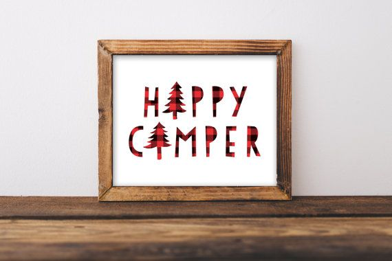 Happy Camper Print » Red Plaid Lumberjack Print » Camping Print » Rustic Print » Kids Room Print » Decor » Nursery Printable » Digital Print