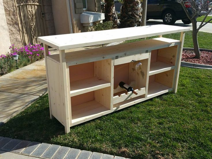 Custom Sideboard Complete With Wine Glass Rack Holder Shelves And More