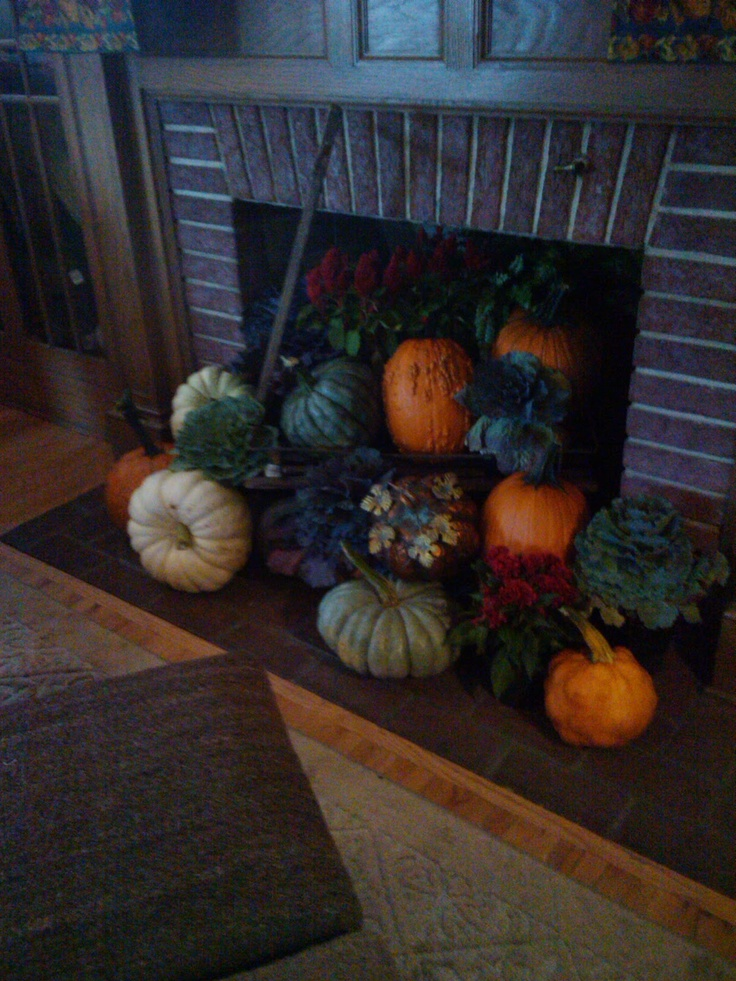 Fill a Fireplace with Pumpkins!