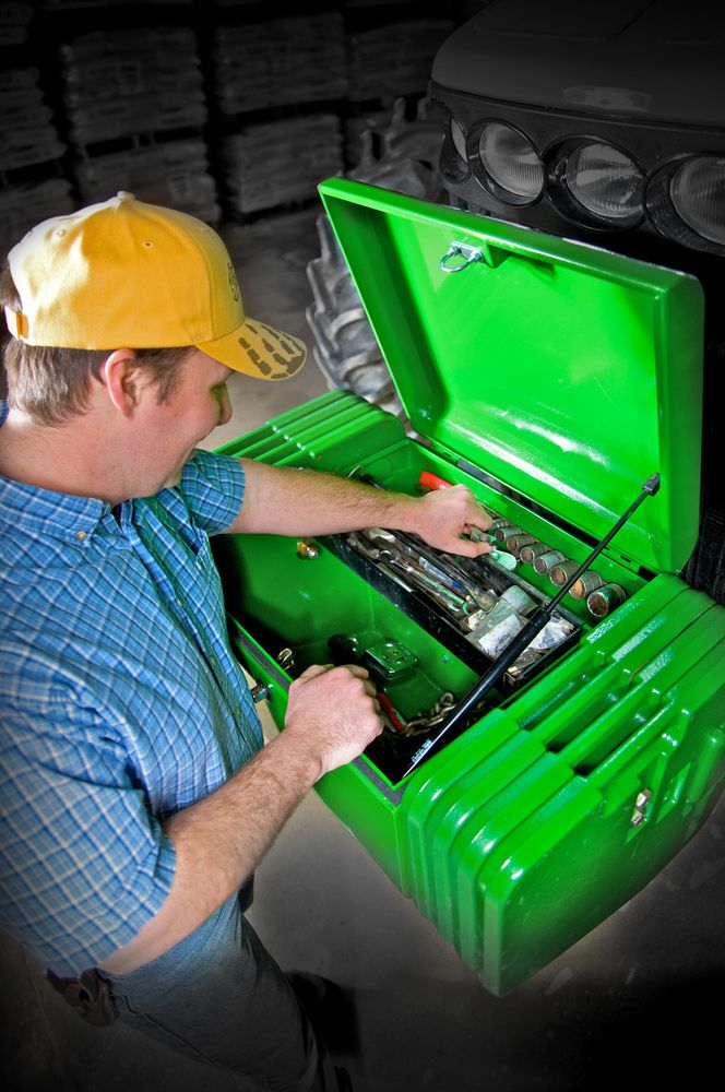 John Deere style tool box. Lockable easy to open push button latch, Easy installation with a universal bracket, Water-tight, and dust proof lid Fits John Deere 6010-6030, 7000-7000R, 8000-8000R, 9000-9000R, as well as many other models! 55's and 60's..... Other shapes coming soon for your (International/Farmall) tractors, and older styles of weights.,