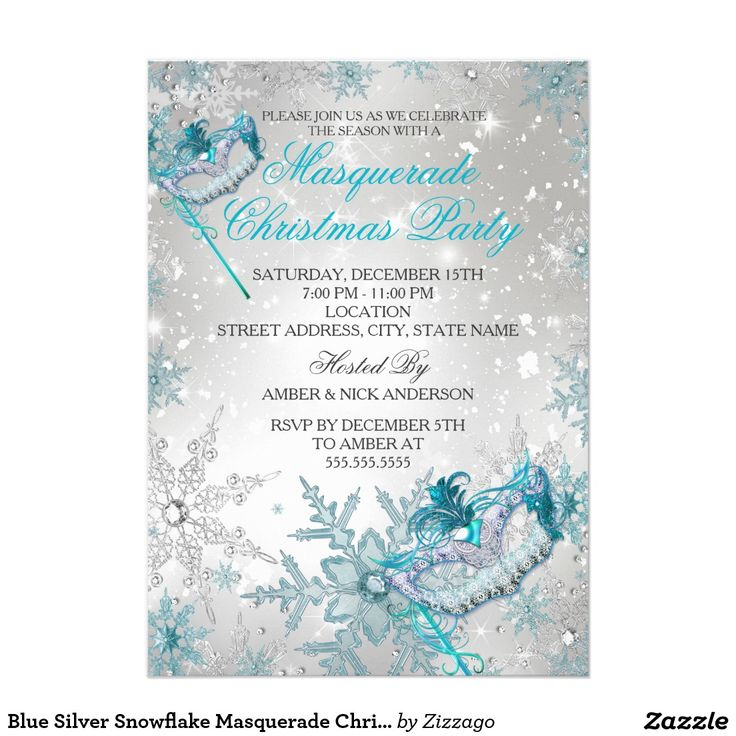 Blue Silver Snowflake Masquerade Christmas Party Card